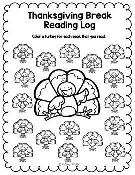 Thanksgiving Break Homework First Grade