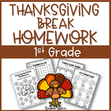 Thanksgiving Break Packet First Grade