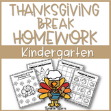 Thanksgiving Break Packet Kindergarten