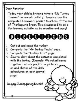 Thanksgiving Break Homework Packet: My Turkey Travels