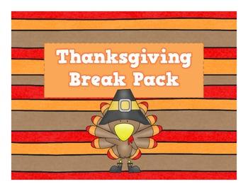 Thanksgiving Break Homework and Activities