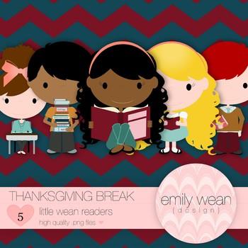Thanksgiving Break - Little Readers Clip Art