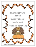 Thanksgiving Break Math and Journal activities