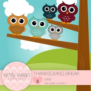 Thanksgiving Break - Owl Clip Art
