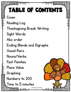 Thanksgiving Break Packet Second Grade