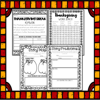 Thanksgiving Break Packet - Fourth and Fifth Grade