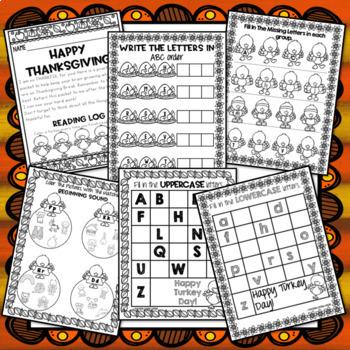 Thanksgiving Break Packet - Kindergarten