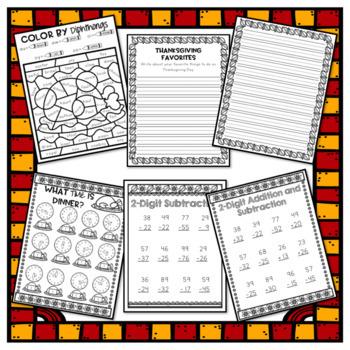Thanksgiving Break Packet - Second Grade
