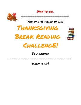 Thanksgiving Break Reading Challenge