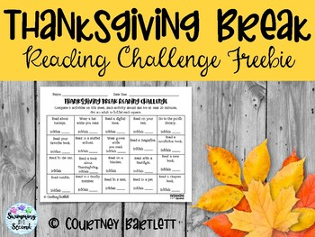 Thanksgiving Break Reading Challenge (FREEBIE)