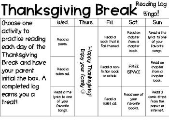 Thanksgiving Break Reading Log (2 versions)