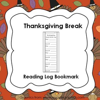 Thanksgiving Break Reading Log Bookmark with AR quiz numbers