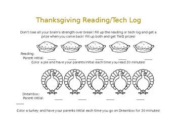 Thanksgiving Break Reading/Tech Log - editable! Spanish version attached!