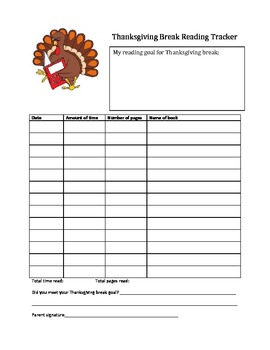 Thanksgiving Break Reading Tracker