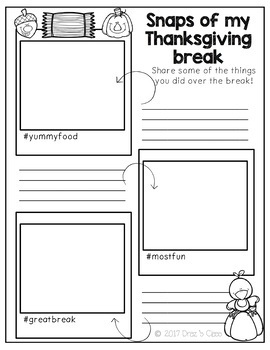 Thanksgiving Break Snaps-a reflection and writing activity {Freebie}