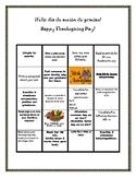Thanksgiving Break  Spanish and English bingo