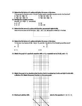 Algebra 2 Thanksgiving Break State Test Review