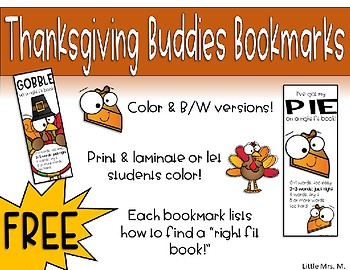 Thanksgiving Buddies Bookmarks with Right Fit Book Guide