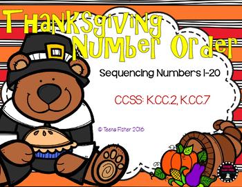 Thanksgiving Buddies Sequencing 1-20 Fall Math File Folder Game Center