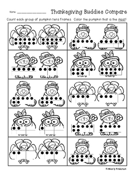 Thanksgiving Buddies: Tens Frame Comparisons: Number Sense - K.CC.C.6