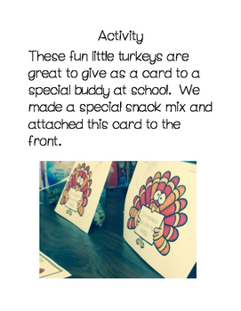 Thanksgiving Buddy Card and Activity Idea