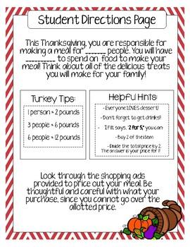 Thanksgiving Budget Activity