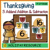 Thanksgiving Build 3 Addend Addition & Subtraction Number Sentences
