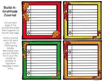 Thanksgiving Build a Gratitude Journal Writing Project, Verbs, Adjectives, Nouns