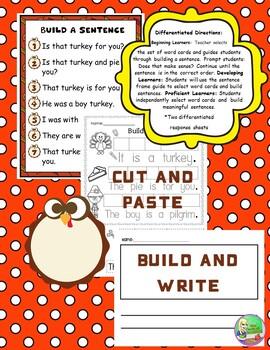 Thanksgiving Build a Sentence Literacy Center {Fry Words}