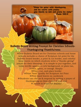 Thanksgiving Bulletin Board for Christian and Home Schools