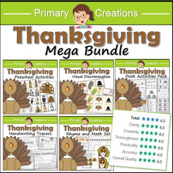 Preschool Thanksgiving ELA and Common Core Maths Bundle