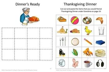 Thanksgiving Bundle File Folder Math and Literacy NO PREP/LOW Prep Printables
