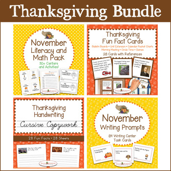 Thanksgiving Bundle - Literacy & Math, Fun Fact Cards, Cursive Copywork, Writing