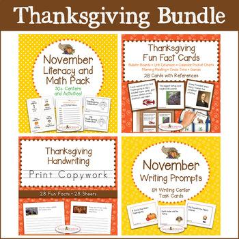 Thanksgiving Bundle - Literacy & Math, Fun Fact Cards, Print Copywork, Writing