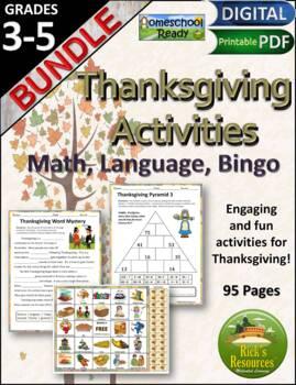 Thanksgiving  Math Language Bingo Bundle