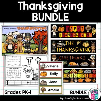 Thanksgiving Bundle: Mini Book, Name Tags, Bookmarks, Alphabet Workbook