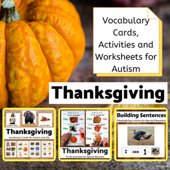Thanksgiving Bundle - Vocabulary Cards, Activities, Worksheets