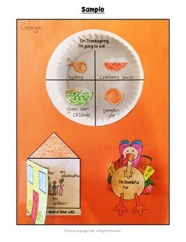 ESL, ELL, EFL, ELD Thanksgiving Lesson Plans, Writing Activities, Games