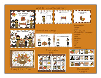 Thanksgiving Bundle-- Vocabulary,Concepts,Cariboo and Bingo