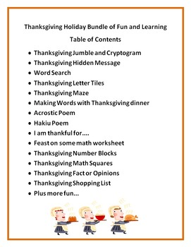 Thanksgiving Bundle of Fun and Learning