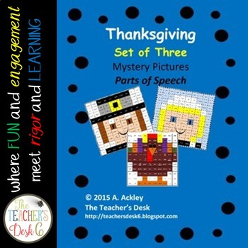 Thanksgiving Bundle of Three Mystery Pictures Parts of Speech