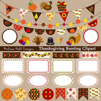 Thanksgiving Bunting Labels Washi Clipart