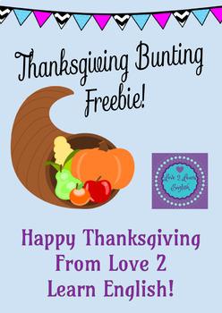 Thanksgiving Bunting Worksheet Freebie!