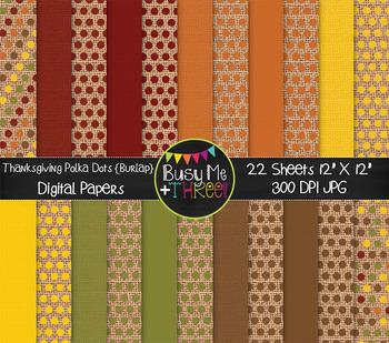 Thanksgiving Burlap Polka Dots Digital Papers {Commercial Use Digital Graphics}