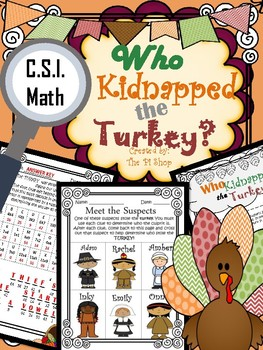 Thanksgiving C.S.I. Math {Kidnapped TURKEY} {NO PREP}