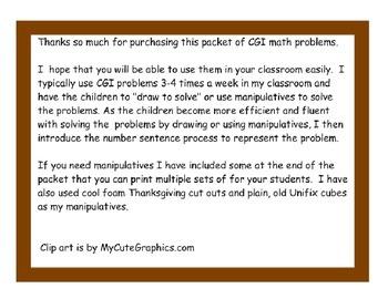 Thanksgiving CGI Math Problem Cards