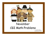 Thanksgiving CGI Math Problem Cards