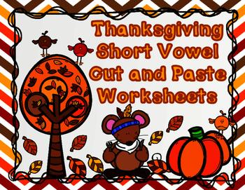 Thanksgiving CVC Cut and Paste Worksheets:  Short Vowel So
