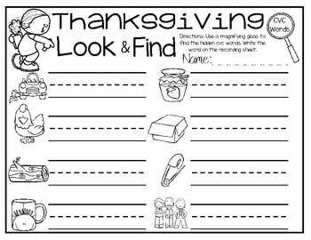 Thanksgiving CVC Look and Find Center