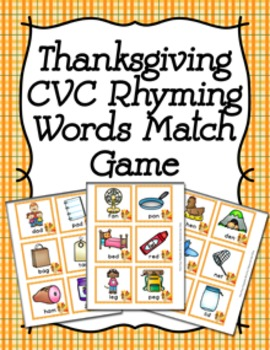 Thanksgiving CVC Rhyming Words Match Game